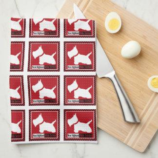Westie Checkers Tea Towel