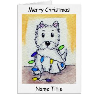 Westie Christmas Lights art Christmas Card