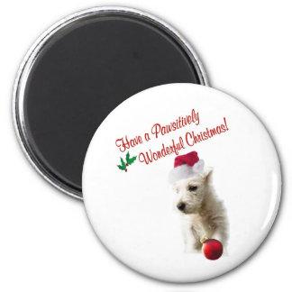 Westie Christmas Wishes 6 Cm Round Magnet