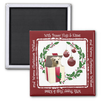 Westie Christmas Wishes Square Magnet