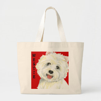 Westie Color Block Large Tote Bag