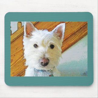 Westie Dog Face, Looking at You Mouse Pad