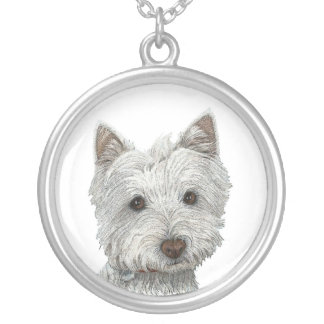Westie Dog in Ink Art Necklace