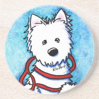 Westie Dog & Leash Coaster