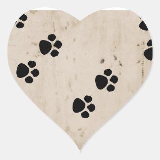 Westie Dog Paw Prints Heart Sticker