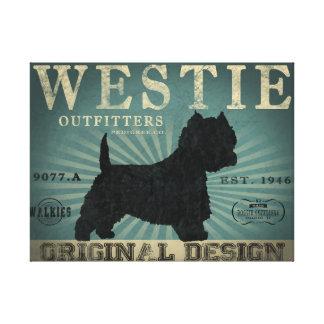 Westie Dog Rustic Art Canvas