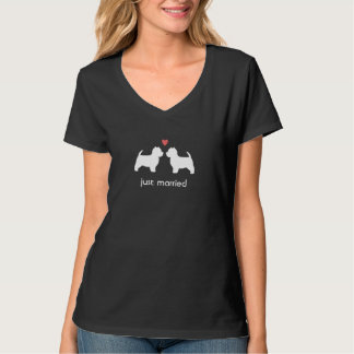 Westie Dog Silhouettes with Heart and Text T-Shirt