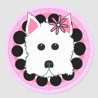 Westie Girl Classic Round Sticker