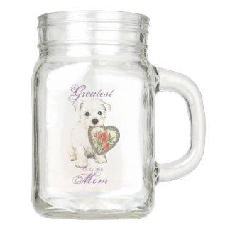 Westie Heart Mom Mason Jar