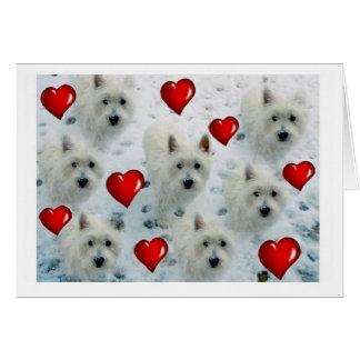Westie Hearts notecard thankyou birthday etx.