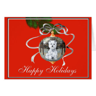 Westie in a Holiday Ornament Card