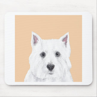 Westie in pink mouse pad