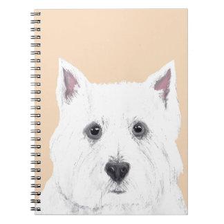 Westie in pink notebook
