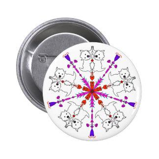 Westie kaleidoscope 6 cm round badge