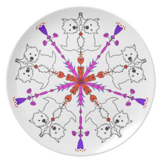 Westie kaleidoscope plates