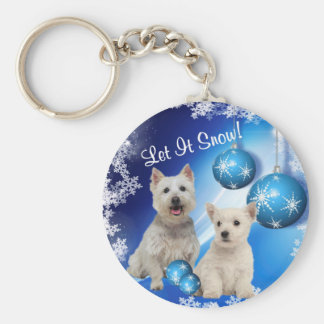 Westie Let It Snow Holiday Greeting Basic Round Button Key Ring