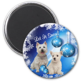 Westie Let It Snow Holiday Greeting Fridge Magnet