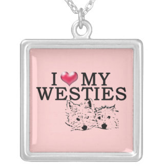 Westie Love in Pink Silver Plated Necklace