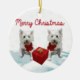 Westie Merry Christmas White Dogs Ceramic Ornament