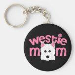 Westie Mum Basic Round Button Key Ring