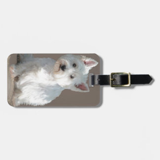 WESTIE ON TAUPE LUGGAGE TAG