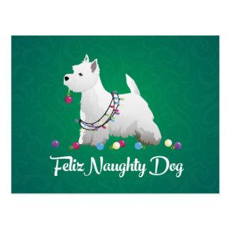 Westie or West Highland Terrier Feliz Naughty Dog Postcard