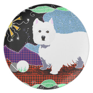 Westie Patchwork Party Plate