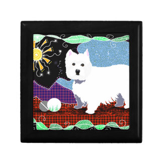 Westie Patchwork Small Square Gift Box