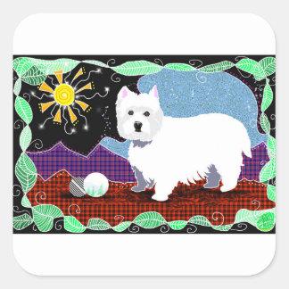 Westie Patchwork Square Sticker