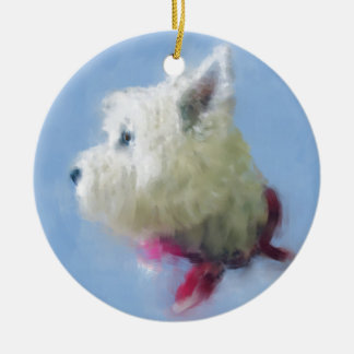 WESTIE PONDERS CERAMIC ORNAMENT