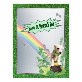 Westie Pup Number 3 Happy St Patty Small Version Postcard