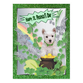 Westie Puppy Number One Happy St Pattys Day Postcard