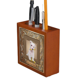 Westie Puppy Ornate Gold Filled Frame Design Desk Organiser