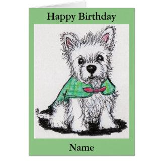 Westie puppy tartan coat birthday etc nana mum dad greeting card