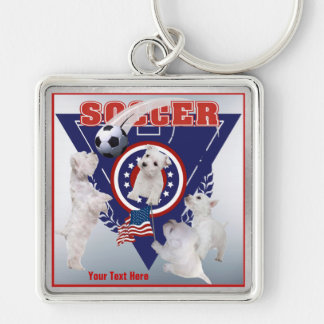 Westie Puppy US Flag Soccer Design – Customize It! Key Chains