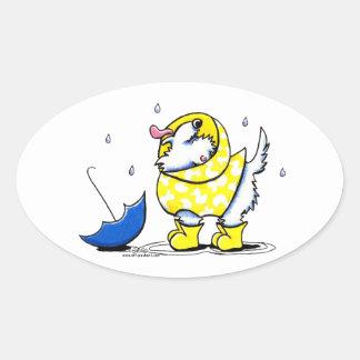 Westie Rainy Day Oval Sticker