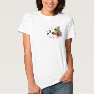 Westie Red Rose Valentine Design T Shirts