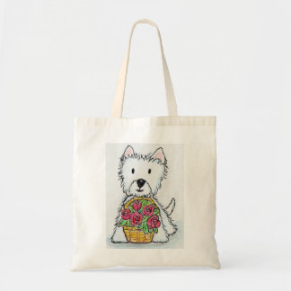 Westie roses Birthday Christmas friend wife etc. Budget Tote Bag
