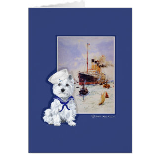Westie Sailor and Travel Poster Card