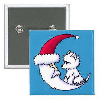 Westie Santa Moon 15 Cm Square Badge