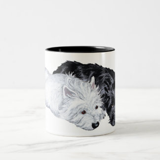 Westie & Scottie at Ease Two-Tone Coffee Mug