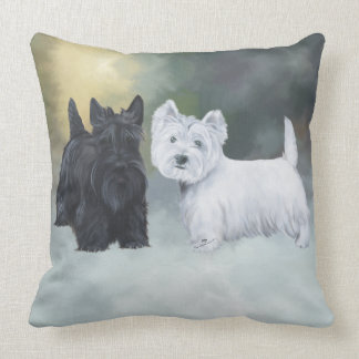 Westie Scottie Wintertime Throw Pillow