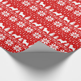 Westie Silhouettes Christmas Sweater Pattern Red Wrapping Paper