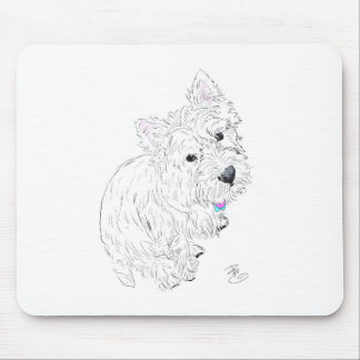 Westie siting at my feet mouse pad