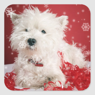Westie Snowflake Holiday Design Square Sticker