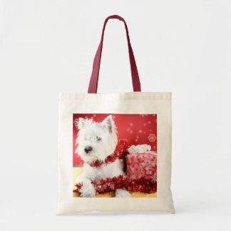 Westie Snowflake Holiday Design Tote Bag