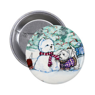 Westie Snowman 6 Cm Round Badge