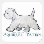 Westie Squirrel Patrol Square Sticker