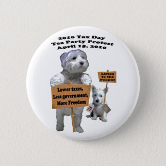 Westie Tax Day Tea Party Protest Button