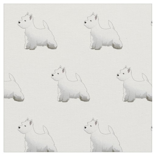 Westie Terrier Silhouette Tiled - Basic Fabric